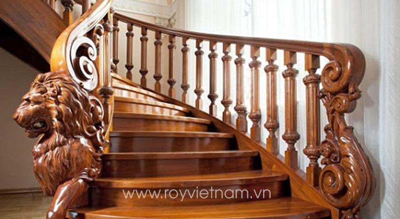 Mẫu trụ cầu thang gỗ tân cổ điển 11
