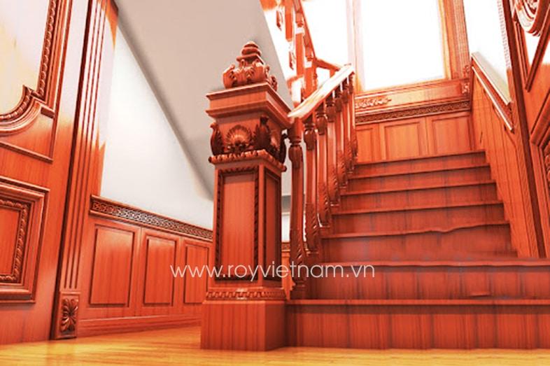 Mẫu trụ cầu thang gỗ tân cổ điển 6